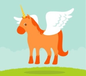 Cartoon image of an orange unicorn with wings